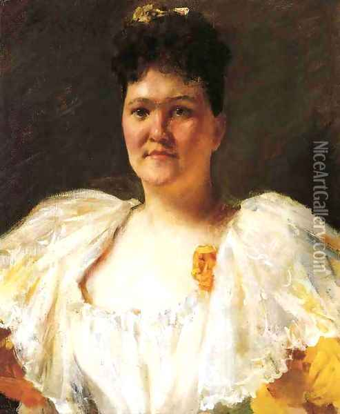 Portrait Of A Woman Oil Painting - William Merritt Chase