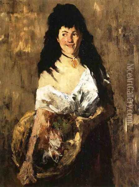 Woman with a Basket Oil Painting - William Merritt Chase