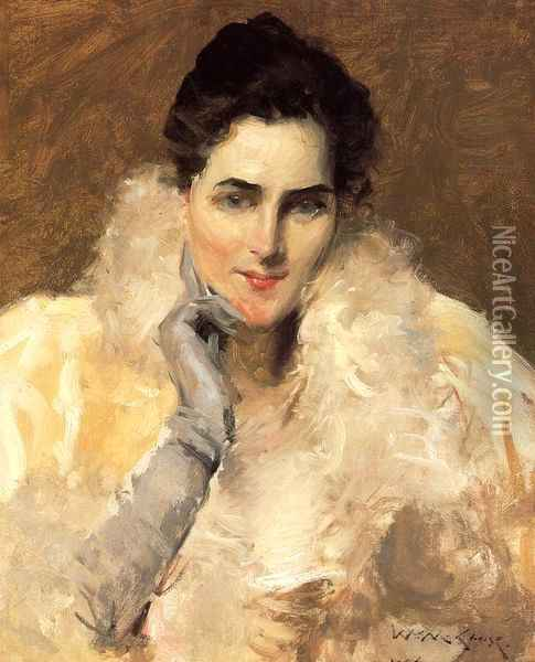 Portrait of a Lady Oil Painting - William Merritt Chase