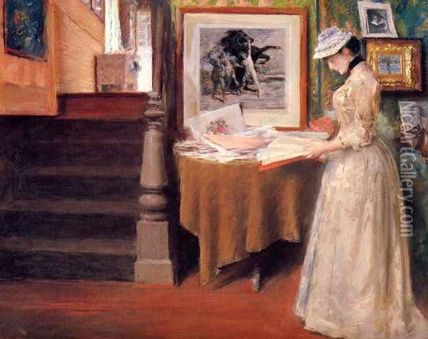 Interior, Young Woman at a Table Oil Painting - William Merritt Chase