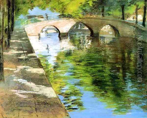 Reflections (or Canal Scene) Oil Painting - William Merritt Chase