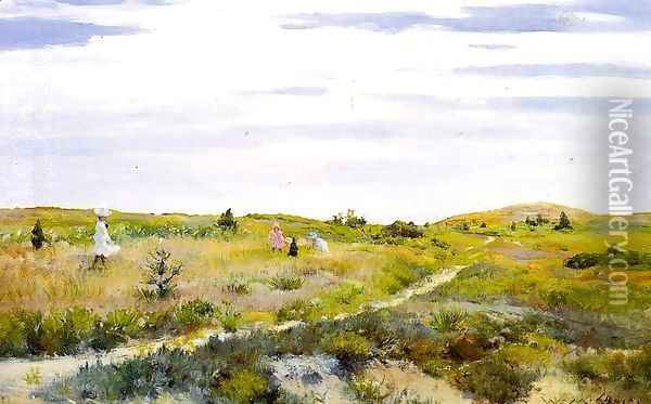 Along the Path at Shinnecock Oil Painting - William Merritt Chase