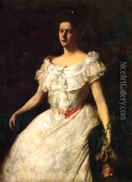 Portrait of a Lady with a Rose Oil Painting - William Merritt Chase