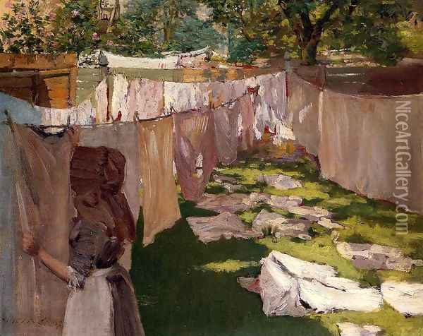 Wash Day - A Back Yard Reminiscence of Brooklyn Oil Painting - William Merritt Chase