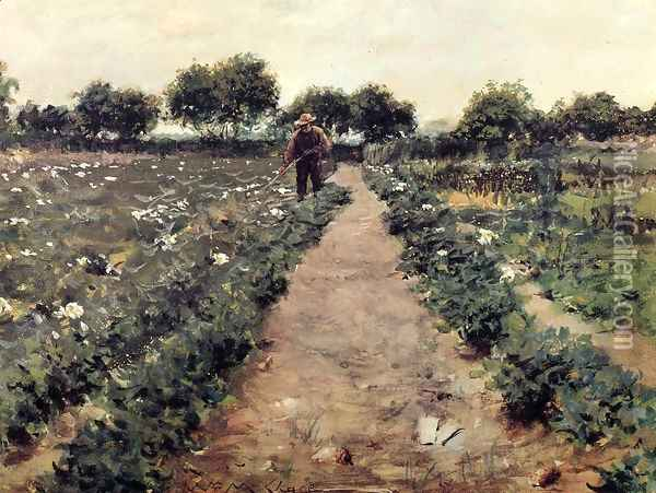 The Potato Patch (or Garden, Shinnecock) Oil Painting - William Merritt Chase