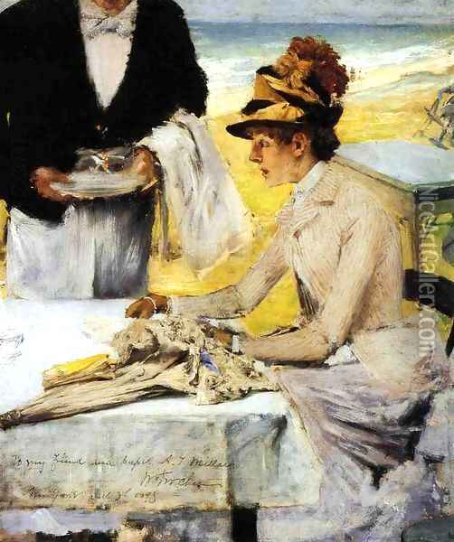 Ordering Lunch by the Seaside Oil Painting - William Merritt Chase
