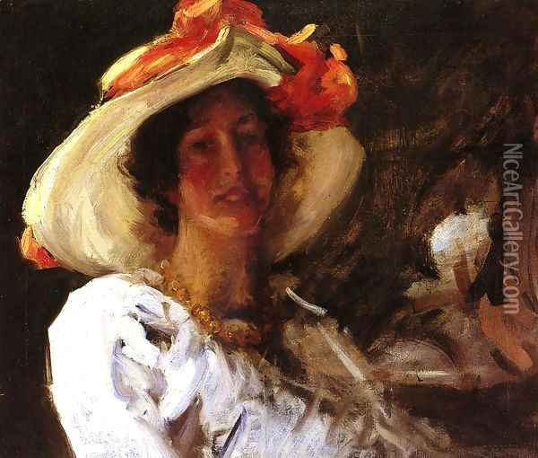 Portrait Of Clara Stephens Wearing A Hat With An Orange Oil Painting - William Merritt Chase