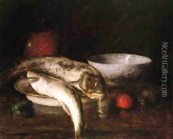 Still Life with Fish Oil Painting - William Merritt Chase