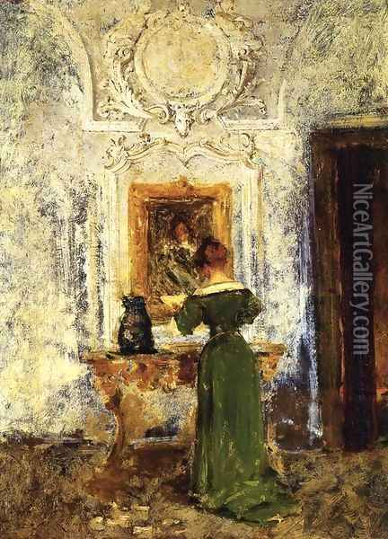 Woman in Green aka Lady in Green Oil Painting - William Merritt Chase