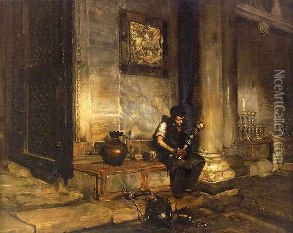 Interior of the Baptistry at St. Mark's Oil Painting - William Merritt Chase