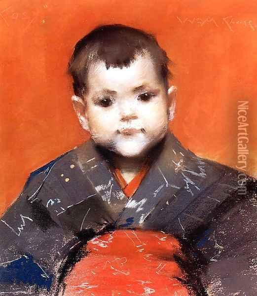 My Baby (or Cosy) Oil Painting - William Merritt Chase