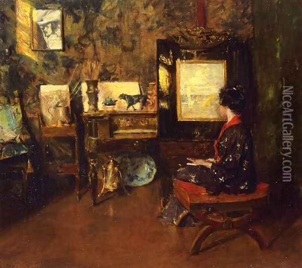Alice in the Shinnecock Studio Oil Painting - William Merritt Chase