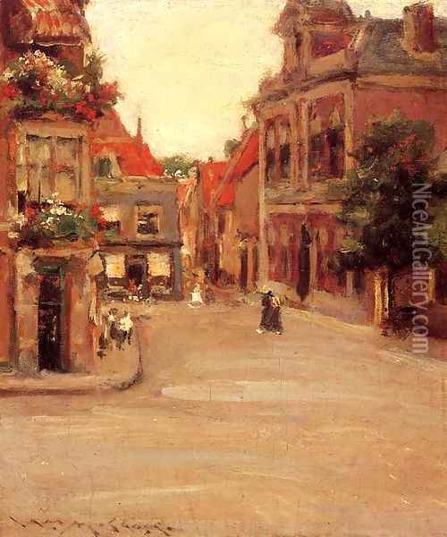 The Red Roofs of Haarlem (or A Street in Holland) Oil Painting - William Merritt Chase