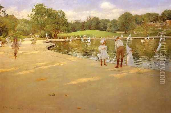 The Lake for Miniature Yachts (or Central Park) Oil Painting - William Merritt Chase