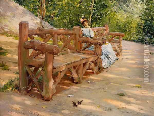 Park Bench (or An Idle Hour in the Park - Central Park) Oil Painting - William Merritt Chase