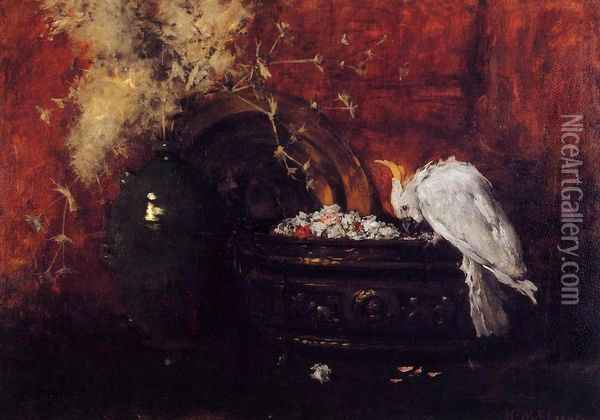 Still Life with Cockatoo Oil Painting - William Merritt Chase