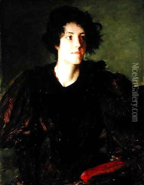 Study of a Young Woman, c.1880-85 Oil Painting - William Merritt Chase
