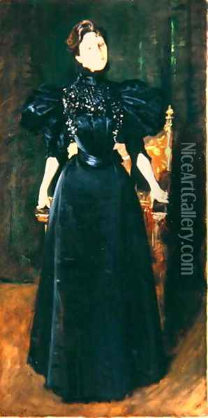 Portrait of a Lady in Black, c.1895 Oil Painting - William Merritt Chase