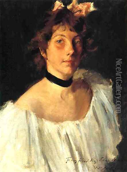 Portrait of a Lady in a White Dress (or Miss Edith Newbold) Oil Painting - William Merritt Chase