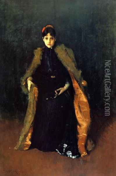 Portrait of Mrs C. (Alice Gerson Chase) Oil Painting - William Merritt Chase
