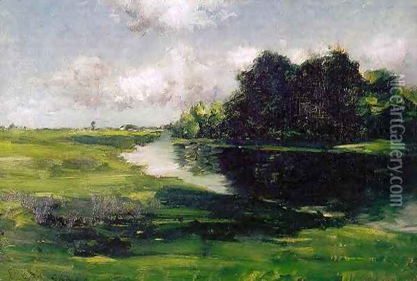 Long Island Landscape after a Shower of Rain Oil Painting - William Merritt Chase