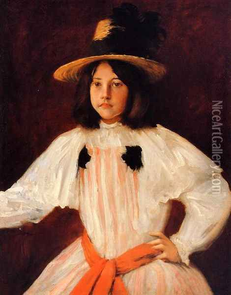 The Red Sash Oil Painting - William Merritt Chase