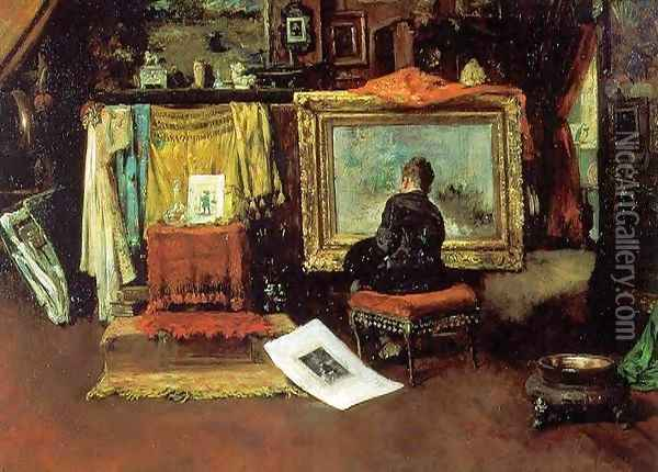 The Tenth Street Studio Oil Painting - William Merritt Chase
