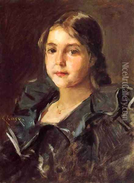 Portrait of Helen Velasquez Chase Oil Painting - William Merritt Chase