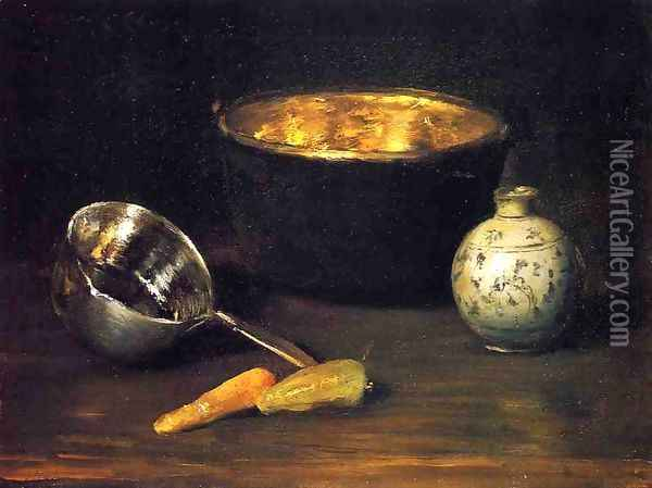 Still Life with Pepper and Carrot Oil Painting - William Merritt Chase