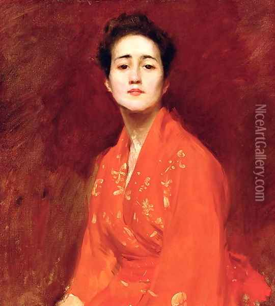 Study of Girl in Japanese Dress Oil Painting - William Merritt Chase