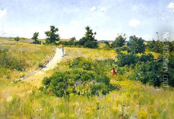 Shinnecock Landscape with Figures Oil Painting - William Merritt Chase