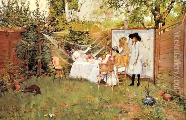 The Open Air Breakfast (or The Backyard, Breakfast Out of Doors) Oil Painting - William Merritt Chase
