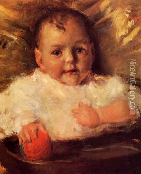 Bobbie: A Portrait Sketch 2 Oil Painting - William Merritt Chase