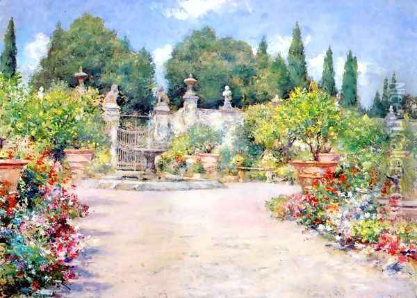 An Italian Garden Oil Painting - William Merritt Chase