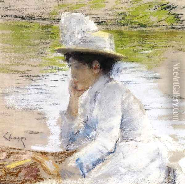 Portrait of Mrs. Chase Oil Painting - William Merritt Chase