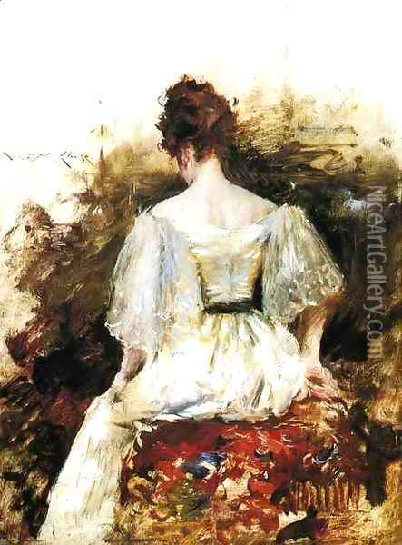 Portrait of a Woman: The White Dress Oil Painting - William Merritt Chase