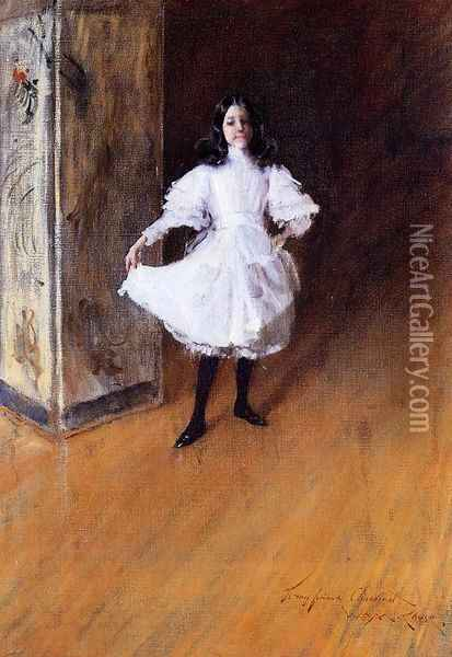 Portrait of the Artist's Daughter (Dorothy) Oil Painting - William Merritt Chase