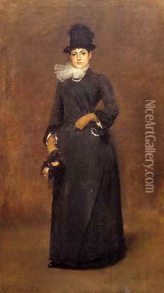 Ready for a Walk: Beatrice Clough Bachmann Oil Painting - William Merritt Chase