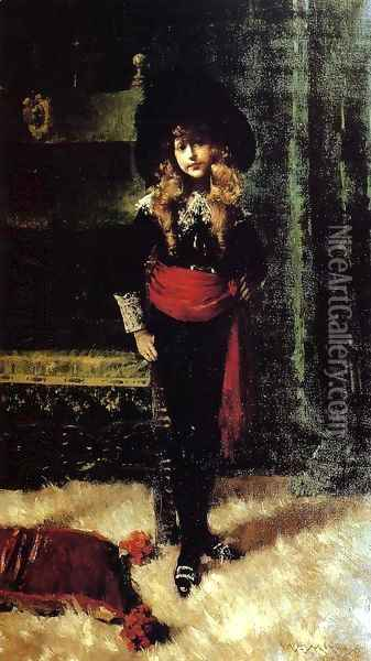 Elsie Leslie Lyde as 'Little Lord Fauntleroy' Oil Painting - William Merritt Chase