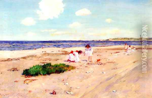 Shell Beach at Shinnecock Oil Painting - William Merritt Chase
