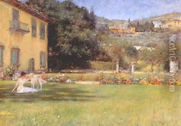 Good Friends, woman and dog Oil Painting - William Merritt Chase