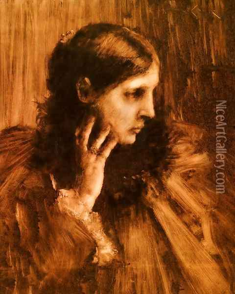 Reverie: A Portrait of a Woman Oil Painting - William Merritt Chase