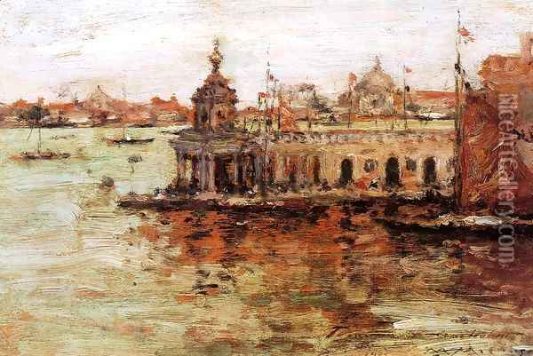 Venice, View of the Navy Arsenal Oil Painting - William Merritt Chase