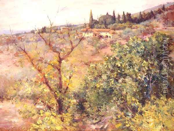 View of Fiesole Oil Painting - William Merritt Chase