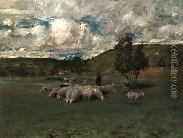 View near Polling with sheep Oil Painting - William Merritt Chase