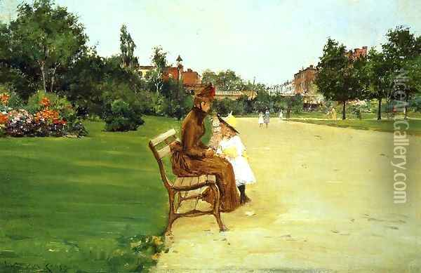 The Park, mother and girl Oil Painting - William Merritt Chase