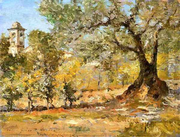 Olive Trees, Florence Oil Painting - William Merritt Chase