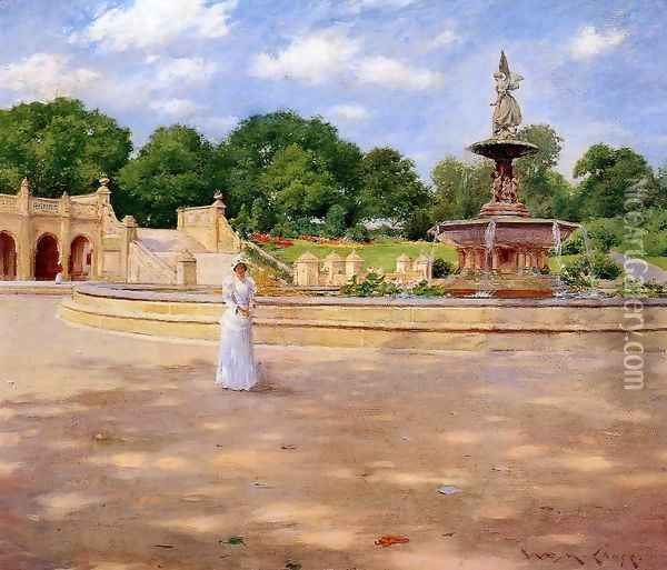An Early Stroll in the Park Oil Painting - William Merritt Chase