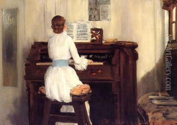 Mrs. Meigs at the Piano Organ Oil Painting - William Merritt Chase
