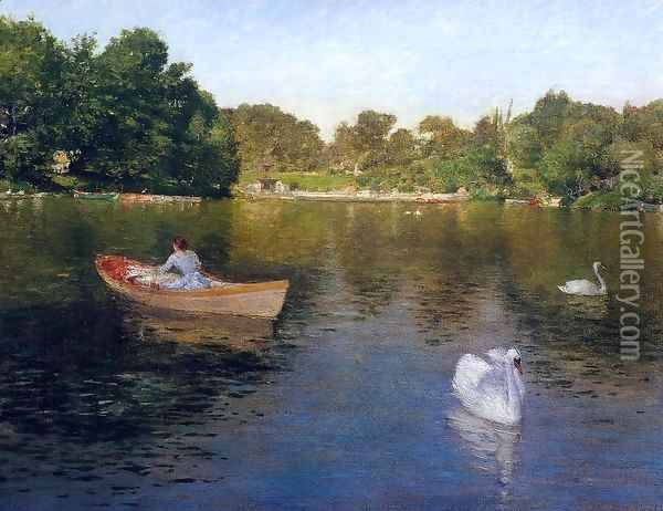 On the Lake, Central Park Oil Painting - William Merritt Chase